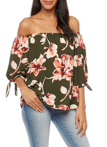 Floral Off the Shoulder Top with Tie Sleeves,OLIVE,large