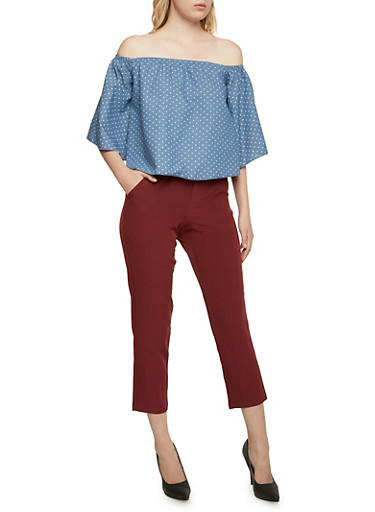 Printed Off the Shoulder Top with Bell Sleeves,DENIM,large