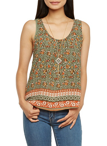 Tank Top in Ornate Print with Necklace,OLIVE,large