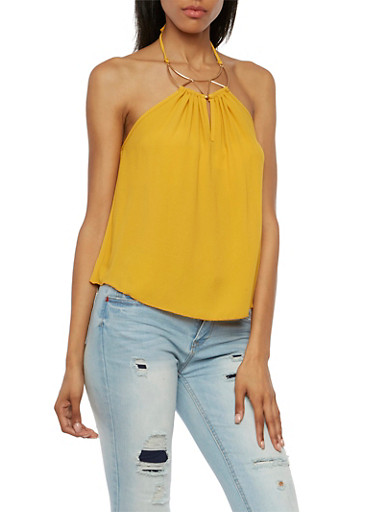Crepe Halter Top with Crescent Moon Hardware Accent,MUSTARD,large