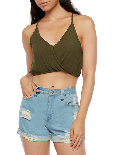 Gauze Knit Crop Top,OLIVE,large