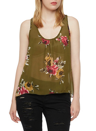 Chiffon Racerback with Floral Print,OLIVE,large