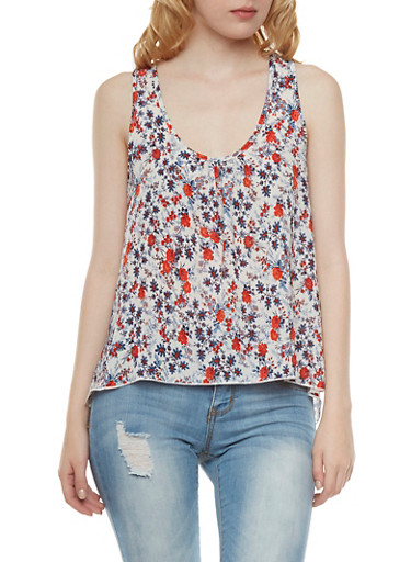 Floral Racerback Top with Ruched Scoop Neck,RED,large