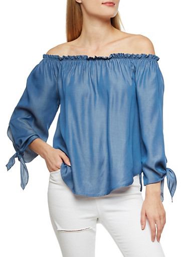 Off the Shoulder Chambray Top with Tie Sleeves,BLUE,large