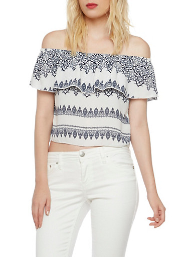 Off The Shoulder Top in Paisley Print,WHITE,large