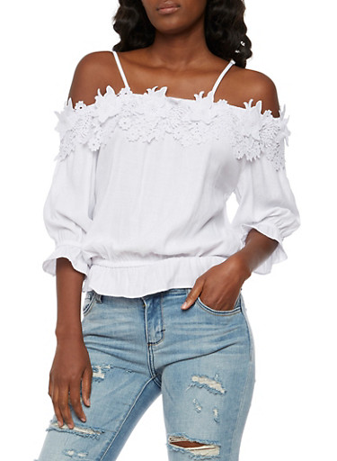 Off the Shoulder Crochet Top,WHITE,large