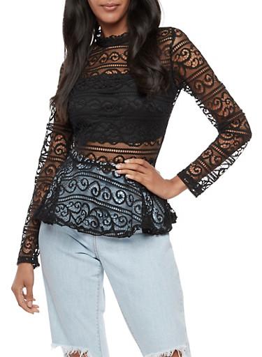 Long Sleeve Lace Peplum Top,BLACK,large