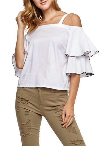 Cold Shoulder Tier Sleeve Top,WHITE,large
