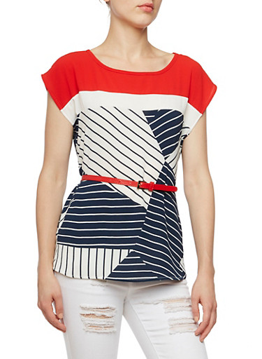 Geometric Printed Top with Removable Belt,RED/NAVY,large