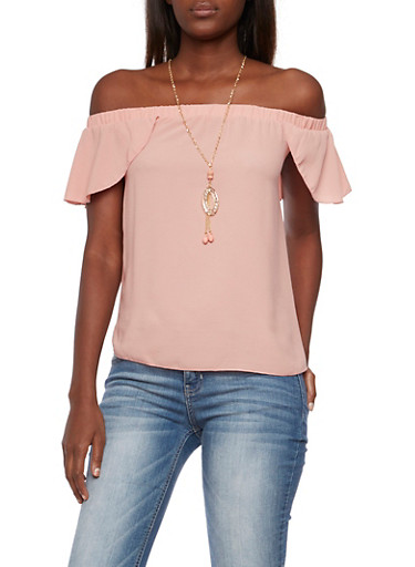 Off The Shoulder Flutter Top with Removable Necklace,MAUVE,large