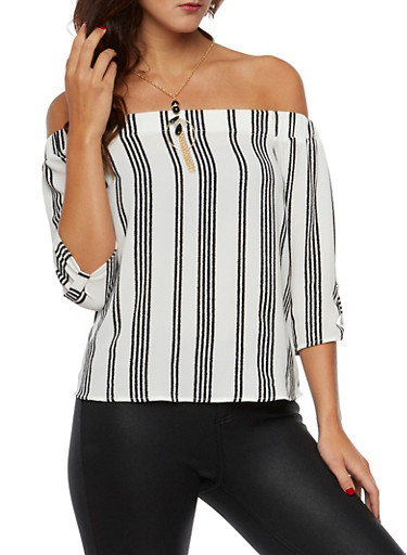 Striped Off the Shoulder Top with Necklace,WHT-BLK,large