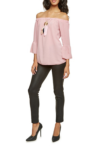 Off the Shoulder Top with Removable Necklace,PINK DUSTY,large