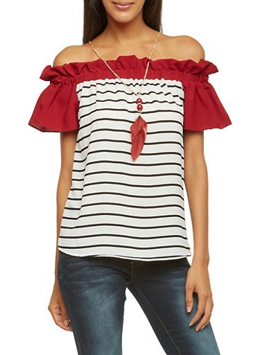 Striped Off the Shoulder Top with Removable Necklace,BURGUNDY,large