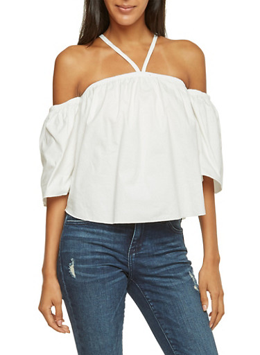 Oversize Off The Shoulder Top,WHITE,large