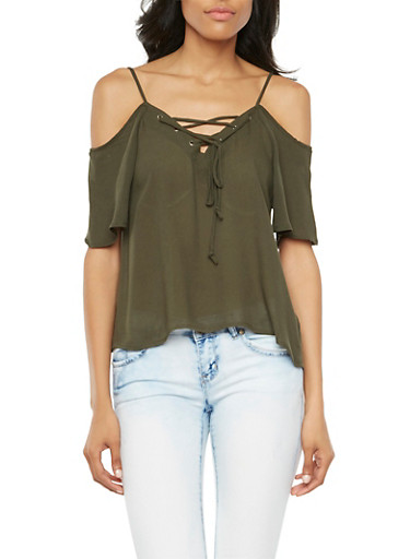 Off the Shoulder Top with Lace Up Neckline,OLIVE,large