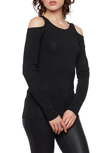Cold Shoulder Top with Long Sleeves,BLACK,large