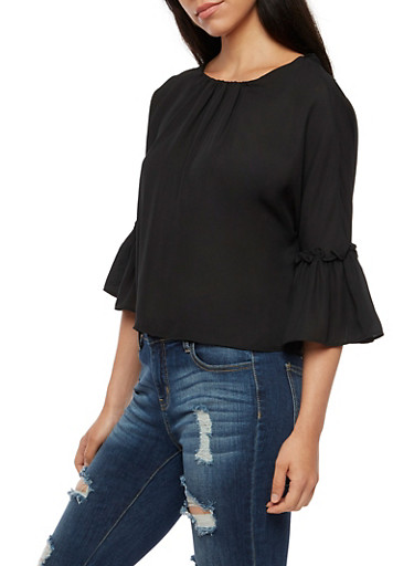 Tie Back Bell Sleeve Top,BLACK,large