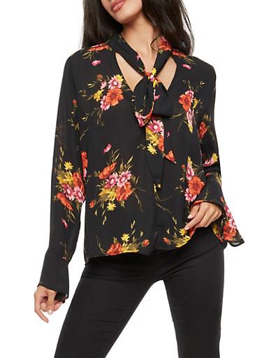 Tie Neck Long Sleeve Floral Print Top,BLACK,large