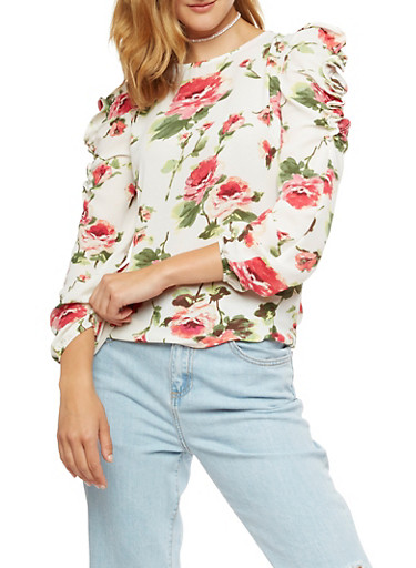 Floral Ruffle Long Sleeve Top,IVORY,large