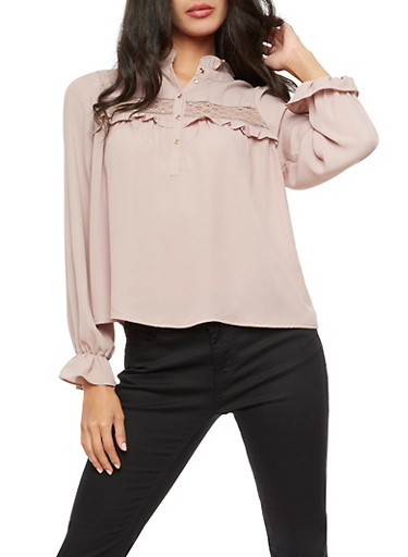 Lace Trim Ruffled Long Sleeve Top,MAUVE,large