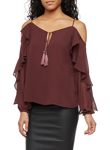 Long Sleeve Cold Shoulder Top with Ruffle Detail,BURGUNDY,large