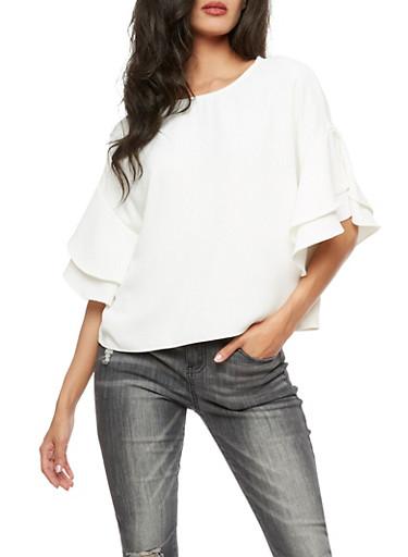 Ruffled Sleeve Blouse,WHITE,large