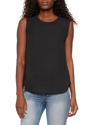 Sleeveless Chiffon Top with Scoop Neck,BLACK,large