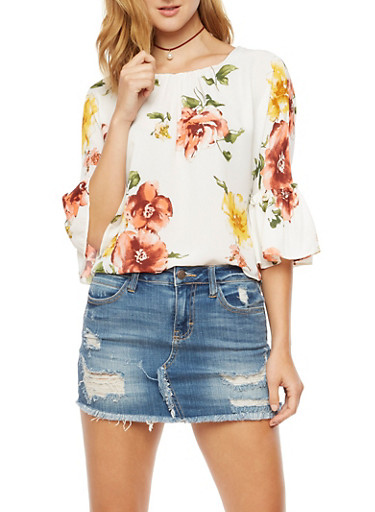 Floral Bell Sleeve Top,IVORY,large