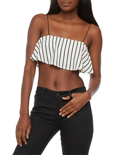Striped Crepe Knit Crop Top,WHITE BLACK,large