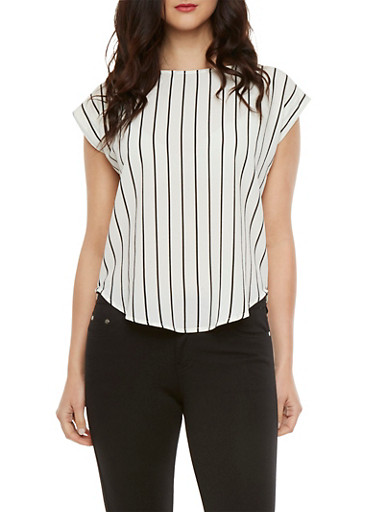Striped Top with Epaulettes,WHT-BLK,large