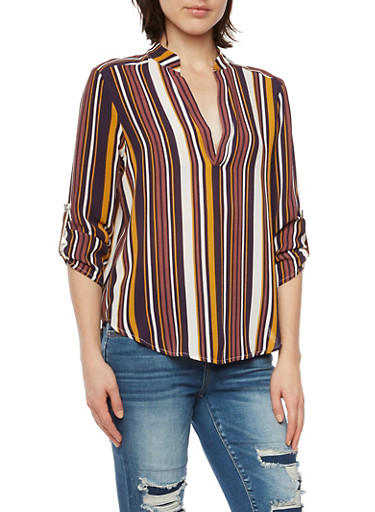 Striped Top with V Neck and Button Cuff Sleeves,PLUM,large