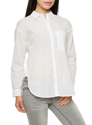 Oversized Shirt with Button Detail,WHITE,large