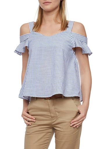 Striped Cold Shoulder Top with Flutter Sleeves,BLUE,large