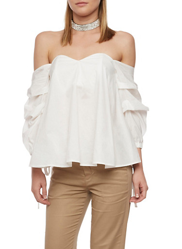 Off the Shoulder Top with Ruched Tie Sleeves,WHITE,large