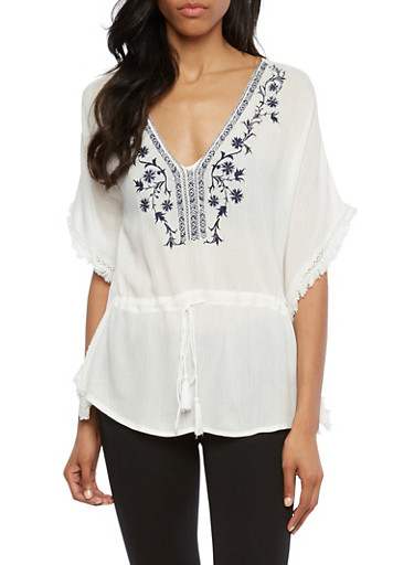 Peasant Top with Floral Embroidery and Fringed Edges,WHITE,large