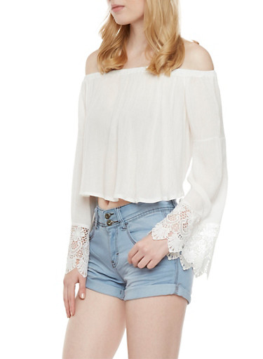 Cropped Off the Shoulder Top with Crochet Trim,WHITE,large