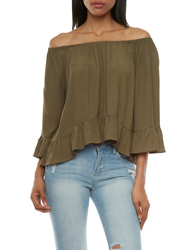 Off-The-Shoulder Peasant Top with Bell Sleeves,OLIVE,large
