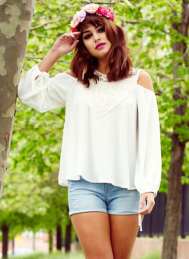 Cold Shoulder Peasant Top with Crochet Panel,NATURAL,large
