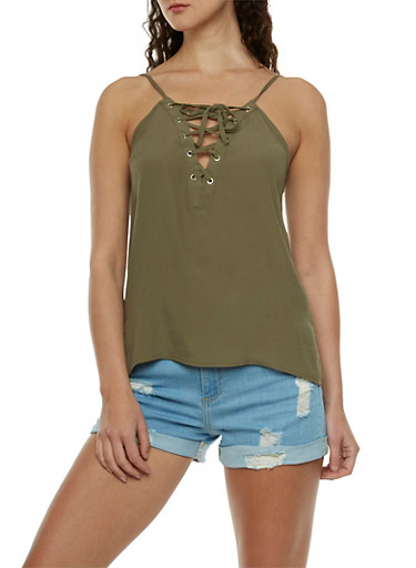 Lace-Up Tank Top with Side Slits,OLIVE,large