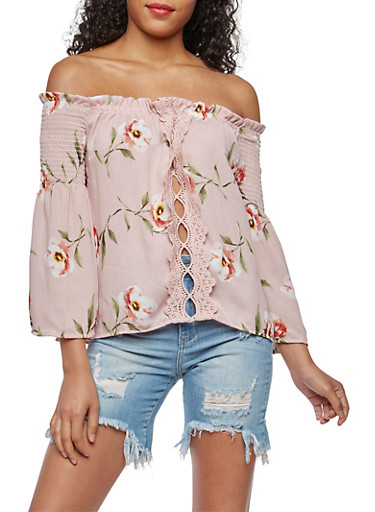Off the Shoulder Floral Top with Crochet Accent,BLUSH,large