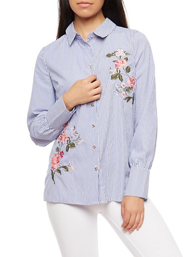 Striped Floral Embroidered Button Front Top,NAVY,large