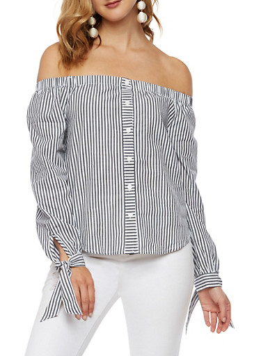 Striped Tie Sleeve Off the Shoulder Top,WHITE BLACK,large