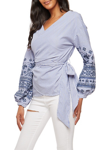 Striped Embroidered Long Sleeve Wrap Front Top,NAVY,large