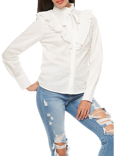 Ruffled Button Front Top,WHITE,large