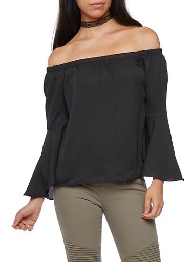 Off the Shoulder Solid Bell Sleeve Top,BLACK,large