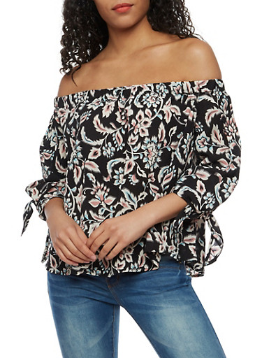 Off the Shoulder Printed Top with Tie Sleeves,CHARCOAL,large