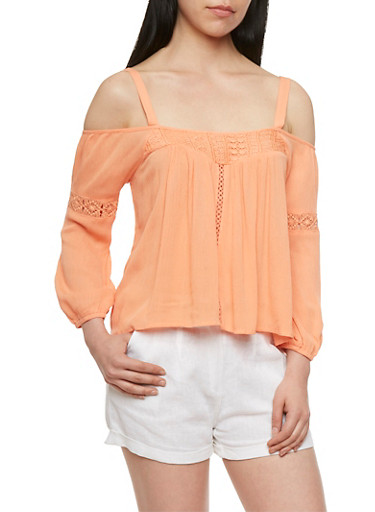 Textural Off-The-Shoulder Top with Crochet Accents,GINGER,large