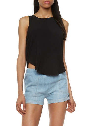Sleeveless Top with Draped Back Cutout,BLACK,large