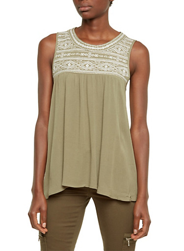 Swing Tank Top with Embroidered Panel,OLIVE/CREAM,large