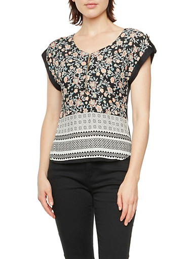 Mixed Floral Print Top with Button Tab Sleeves and Zip Neck,BLACK/WHITE,large